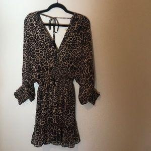 Leopard print split sleeve smock dress